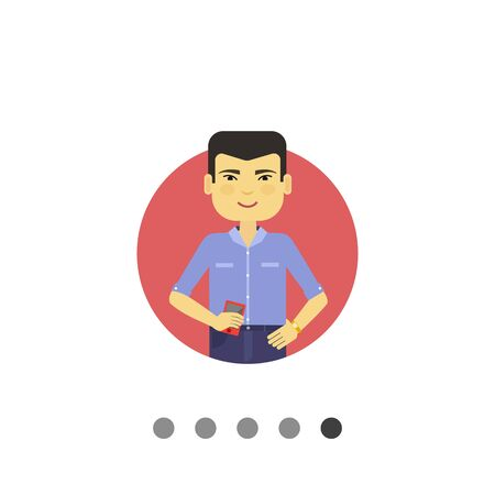 asian man smiling: Male character, portrait of smiling Asian man holding smartphone Illustration