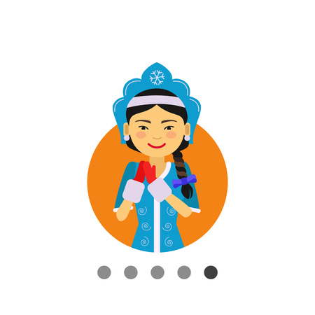fancy dress: Female character, portrait of smiling Asian woman wearing fancy dress with mittens