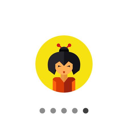 geisha: Multicolored vector icon of portrait of young geisha