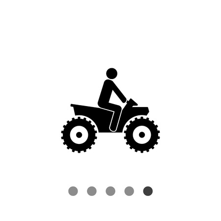 quad bike: Person riding quad bike. ATV, male silhouette, four-wheeler. Transport concept. Can be used for transport, leisure activities, extreme