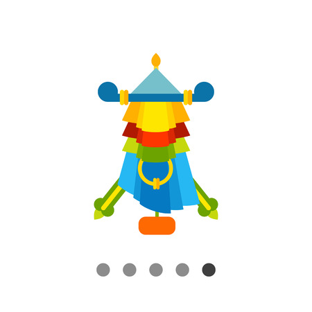 and auspicious: Multicolored vector icon of Auspicious symbol parasol Illustration