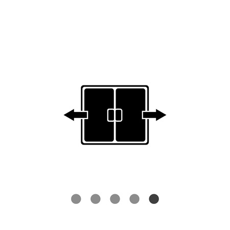 double entry: Monochrome vector icon of automatic double folding door
