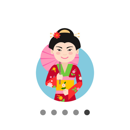 hairdos: Female character, portrait of smiling Asian woman holding umbrella and flower Illustration