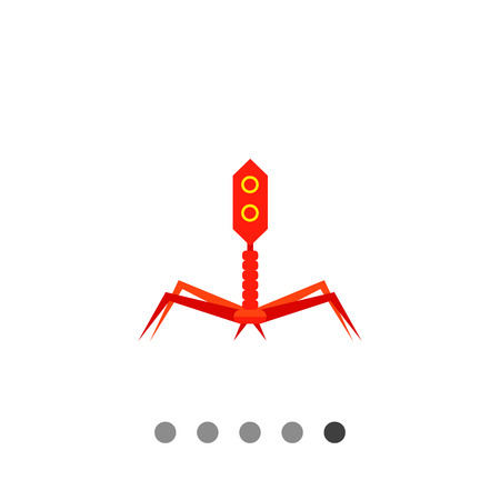 Bacteriophage flat icon. Multicolored vector illustration of bacterial virus Illustration