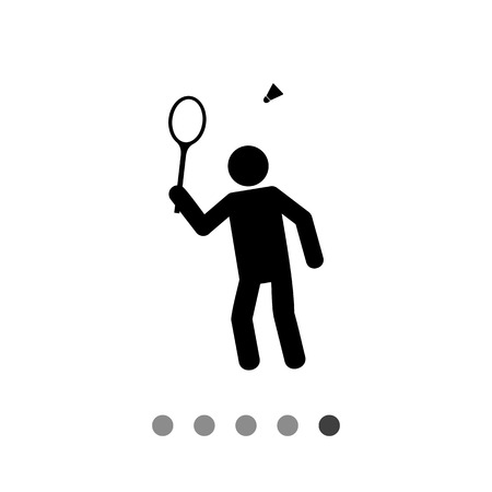 Man with battledore and shuttlecock. Badminton, game, leisure activity. Sport game concept. Can be used for topics like sport, sport games, leisure activities