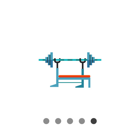 used: Multicolored flat icon of barbell machine, equipment used in weight training