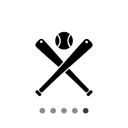 bunt: Monochrome vector icon of two baseball bats and ball