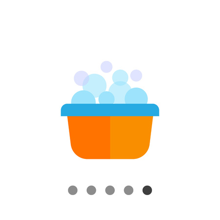 washbowl: Vector icon of yellow plastic basin with foam and bubbles Illustration