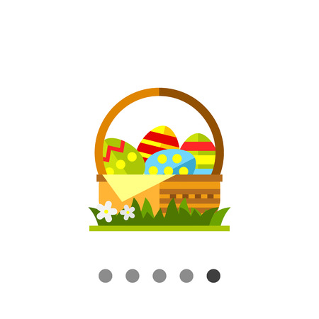Icon of wicker basket with colorful Easter eggs standing on green grass with white flowers