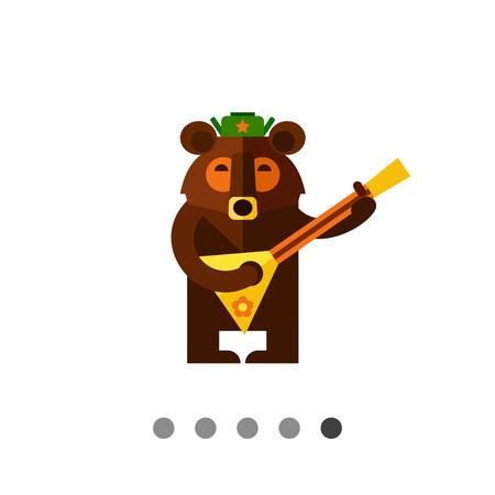 balalaika: Multicolored vector icon of Russian bear wearing warm hat and playing balalaika Illustration