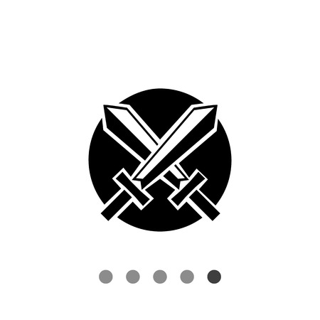 crossed swords: Battle simple icon. Vector illustration of two crossed swords