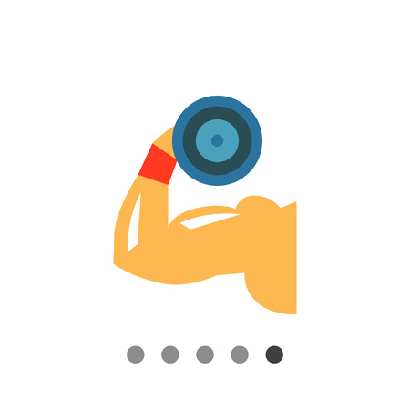 hand with dumbbell: Multicolored flat icon of man hand demonstrating biceps by lifting dumbbell