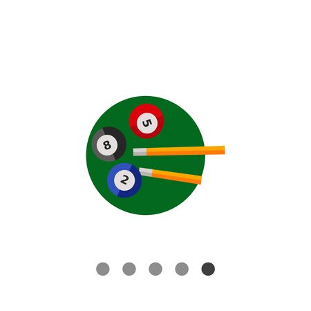 cues: Three billiard balls and two cues on green circle. Game, leisure, table. Billiard concept. Can be used for topics like billiard, sport, entertainment. Illustration