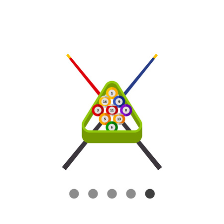 cues: Billiard balls in rack and two crossed cues in background. Game, leisure, club. Billiard concept. Can be used for topics like billiard, gambling, entertainment.