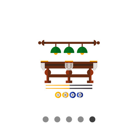 table lamps: Billiard table, lamps above it, cues and balls. Game, competition, leisure. Billiard club concept. Can be used for topics like billiard, sport, gambling. Illustration