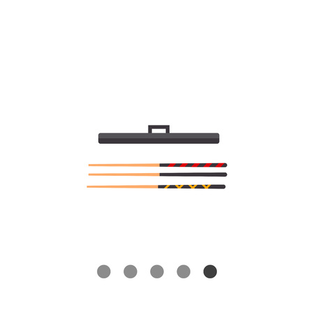 cues: Three billiard cues with case. Game, leisure, equipment. Billiard concept. Can be used for topics like billiard, gambling, entertainment. Illustration