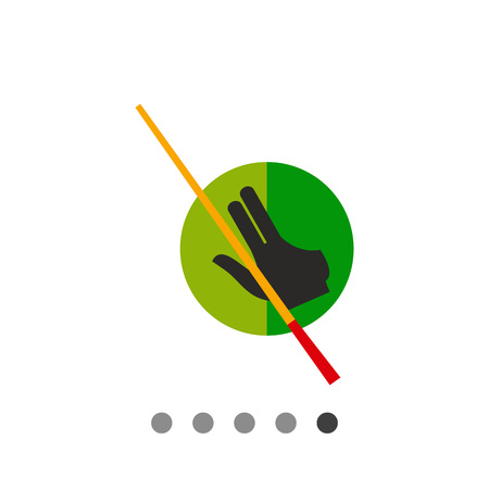Billiard glove and cue with green circle in background. Game, leisure, aiming. Billiard concept. Can be used for topics like billiard, sport, entertainment. Illustration
