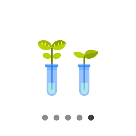 bioscience: Multicolored vector icon of two flasks with plants representing biotechnology concept Illustration