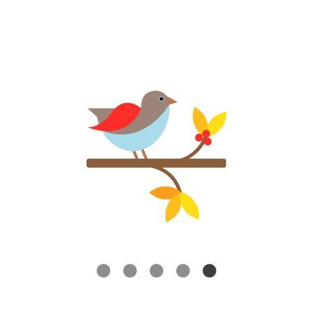 Vector icon of bird sitting on branch Illustration