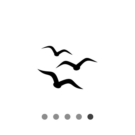 Monochrome vector icon of three seagull silhouettes, representing birds concept