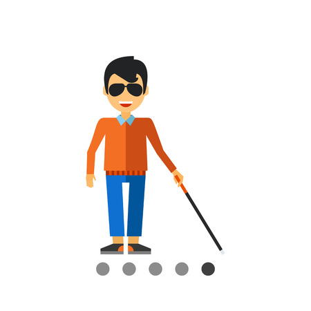 Multicolored flat icon of blind man with cane