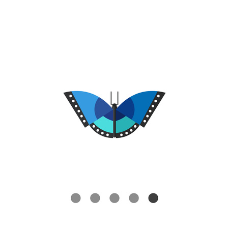 Multicolored vector icon of blue butterfly with black stripes and white spots Illustration