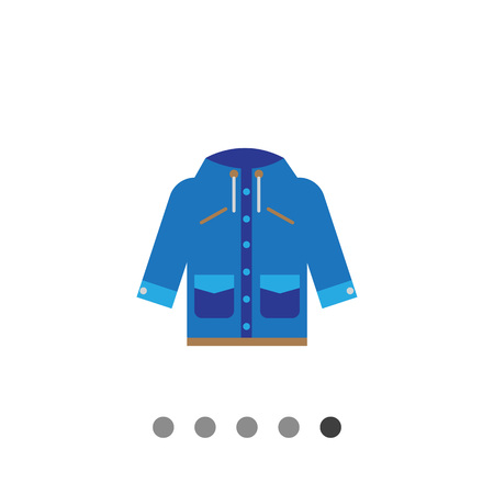 pockets: Vector icon of blue raincoat with hood and pockets Illustration