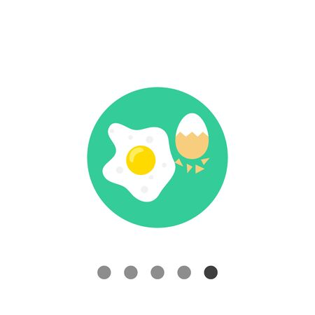 Icon of fried egg and boiled egg with half-peeled eggshell