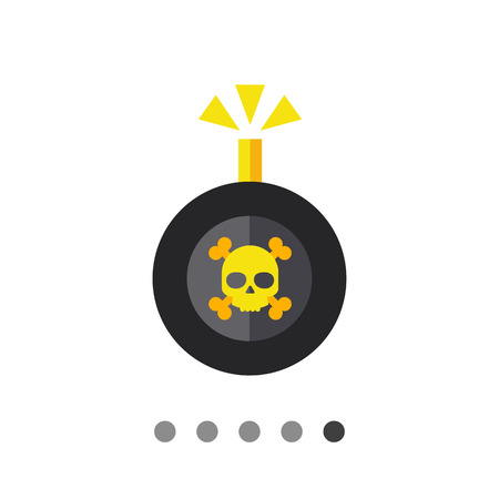 detonating: Multicolored vector icon of bomb with danger sign and burning wick