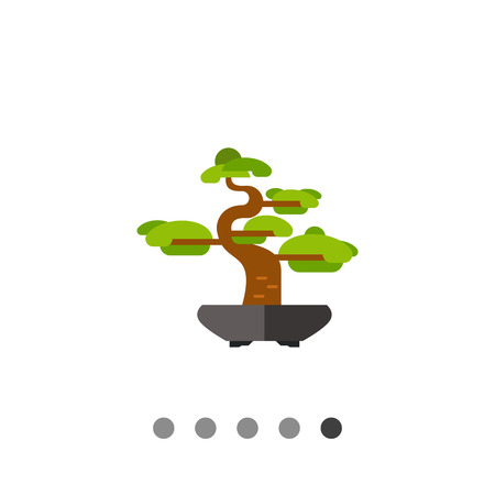 japanese garden: Image of curved bonsai tree with green crown in black stone bowl