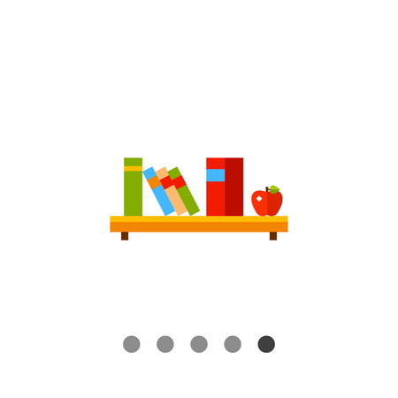 application university: Multicolored vector icon of shelf with six books and apple