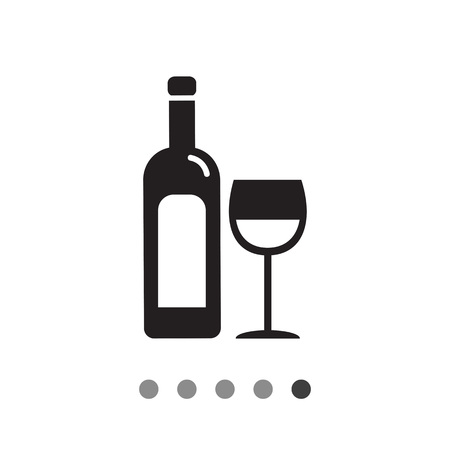 aperitif: Vector icon of bottle of wine and wine glass
