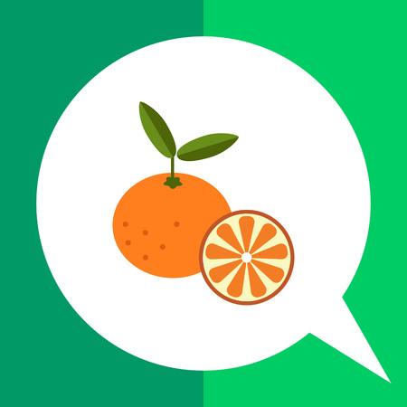 Vector icon of tangerine and cut tangerine half