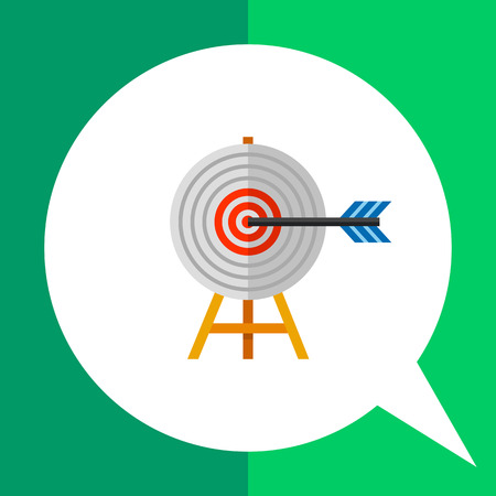 targeting: Multicolored vector icon of target on wooden stand with arrow representing targeting concept