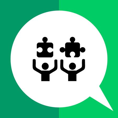 Two persons with puzzle elements. Tasks, work, project, mission. Talk concept. Can be used for topics like business, management, occupation