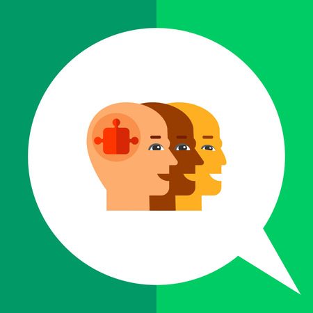 multinational: Three bald heads profiles one behind another with puzzle element in front. Cooperation, multinational, partnership. Team concept. Can be used for topics like business, management, recruitment.