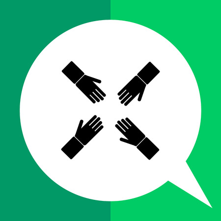 four hands: Monochrome vector icon of four human hands representing teamwork concept