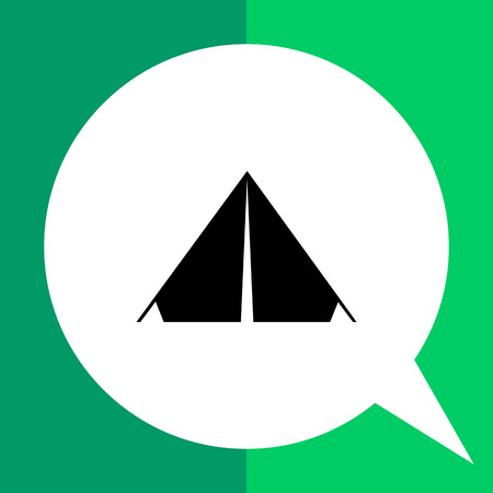 Monochrome vector simple icon of triangle camp tent Illustration
