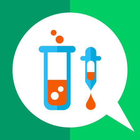 Icon of test tube with bubbling liquid and pipette with droplet