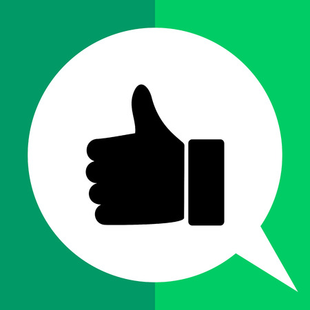 Monochrome vector icon of hand with thumb up Illustration