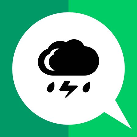 heavy rain: Icon of cloud with falling raindrops and lightning