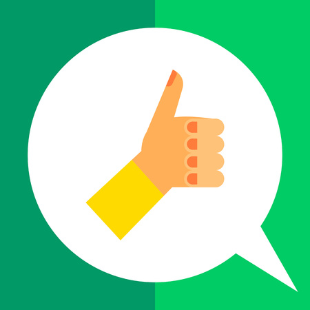 approving: Thumb up icon. Multicolored illustration of hand with thumb up Illustration