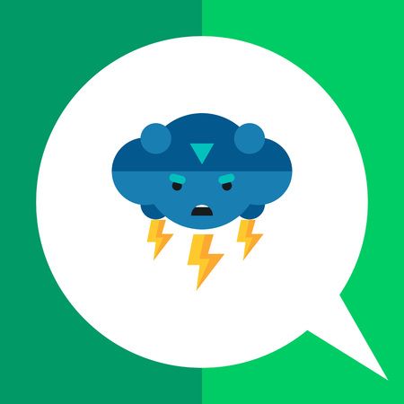 downpour: Multicolored vector icon of thunder representing cloud with frown face and lightning