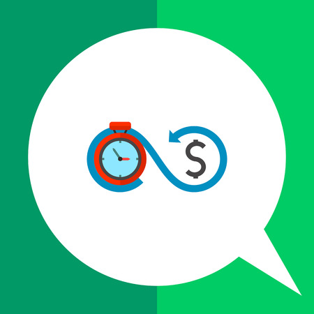 Timer connected with dollar sign. Deposit, earnings, investment. Time is money concept. Can be used for topics like business, management, finance, banking.