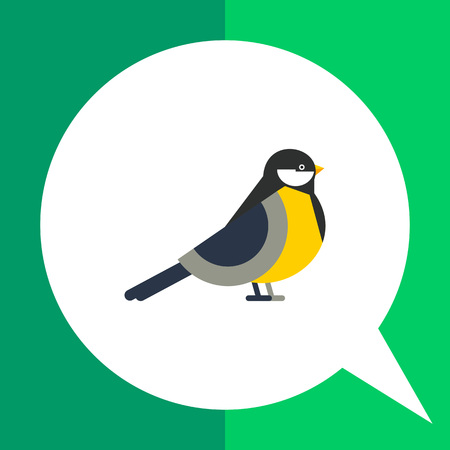 Multicolored vector icon of titmouse, side view Illustration