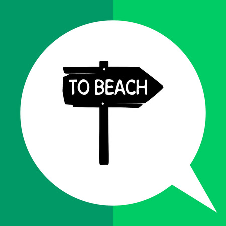 to spend the summer: Monochrome vector icon of vintage wooden arrow sign To beach