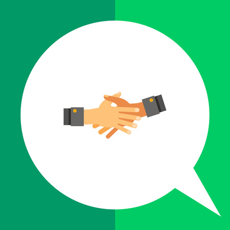 Multicolored vector icon of two open hands stretched out for shaking and held together Illustration