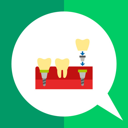 Tooth implant flat icon. Multicolored vector illustration of dental implant being anchored to jaw