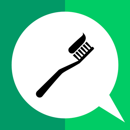 portion: Vector icon of toothbrush with applied toothpaste portion Illustration