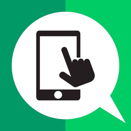 Vector icon of human hand touching smartphone screen